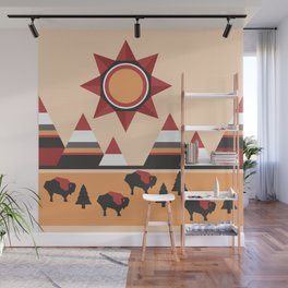 Sun, mountains and buffaloes - native Indian style landscape Wall Mural