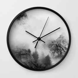 back and white mountains Wall Clock