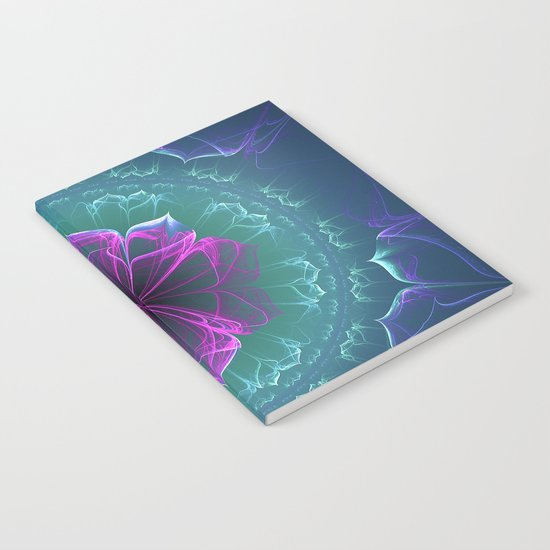 Ornate Blossom in Fuchsia Notebook