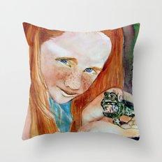 Redhead Green Frog Throw Pillow