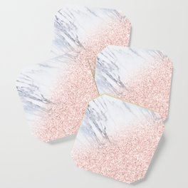 She Sparkles Rose Gold Pink Marble Luxe Geometric Coaster