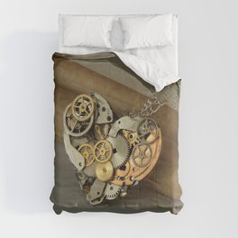 Steampunk Heart of Gold and Silver Comforters