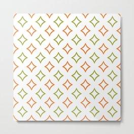 Custom Green and Orange Geometric Diamond Patterns Metal Print