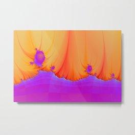 Alien Landscape in Violet and Orange Metal Print
