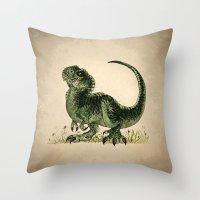 trex Throw Pillows featuring Baby T-Rex by River Dragon Art