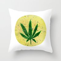 marijuana Throw Pillows featuring MARIJUANA by Sha Abdullah