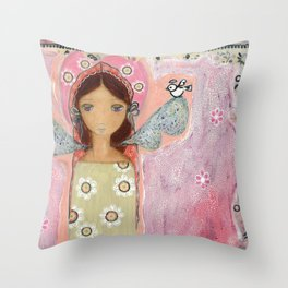Angel with Little Bird by Flor Larios Throw Pillow