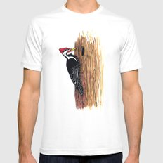 Pileated Woodpecker White Mens Fitted Tee MEDIUM