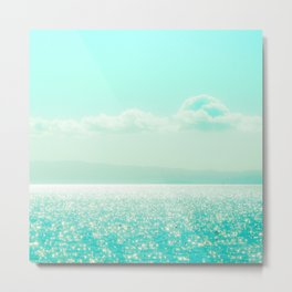 Winter Aqua Sparkling Seashore Metal Print