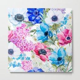 Spring Anemone Watercolor Blue Pink Metal Print