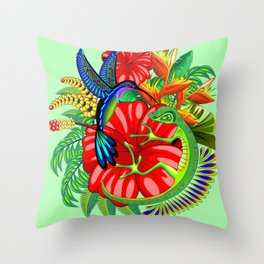 The Lizard, The Hummingbird and The Hibiscus Throw Pillow