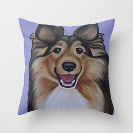 "Rough Collie ""Lassie"" Portrait Throw Pillow"