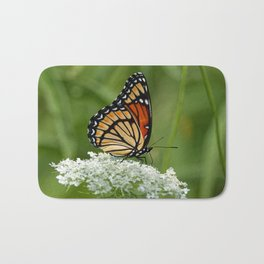 Viceroy Butterfly on Queen Anne's Lace Bath Mat