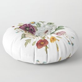 Colorful Wildflower Bouquet on White Floor Pillow