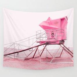 Malibu Lifeguard Tower in Pink Wall Tapestry
