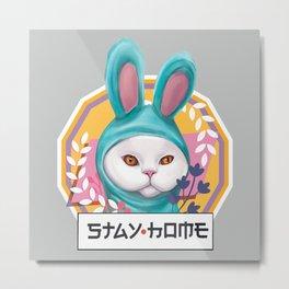 Cute cat stay home in bunny blue pajamas kugurumi (light background version) Metal Print