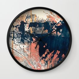 Hidden Gem [1]: an abstract mixed media piece in pink, blue, gold and white Wall Clock