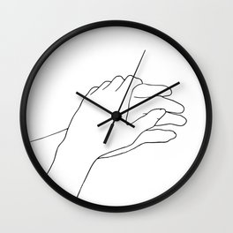 Holding hands line drawing Wall Clock