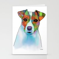 jack russell Stationery Cards featuring Jack Russell Dog by Marlene Watson