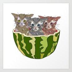 Watermelon Cats Art Print