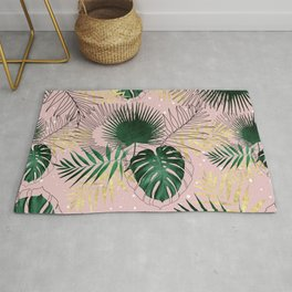 Modern gold tropical leaves and doddles design Rug