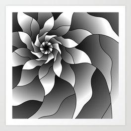 Black and grey pinwheel Art Print