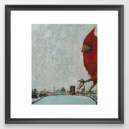 Gigantic Cardinal Attacks Downtown Rochester, New York Framed Art Print