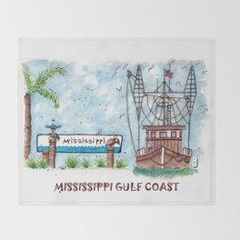 Mississippi Gulf Coast Throw Blanket
