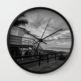 Sunset on lifeguard tower  Wall Clock