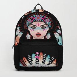 Native american woman wearing war bonnet, tribal portrait design Backpack
