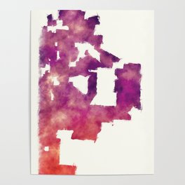 Kansas Missouri city watercolor map in front of a white background Poster