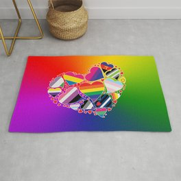 LGBTQA+ Community Pride Heart Rug