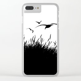 Seagulls Flying over Sand Dunes Clear iPhone Case