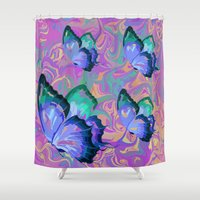 butterflies Shower Curtains featuring butterflies by Shea33