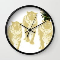 tigers Wall Clocks featuring tigers by vica