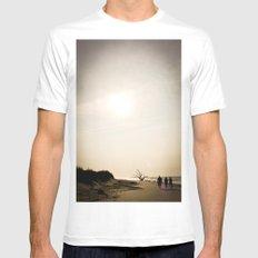 Stroll along the Beach MEDIUM White Mens Fitted Tee