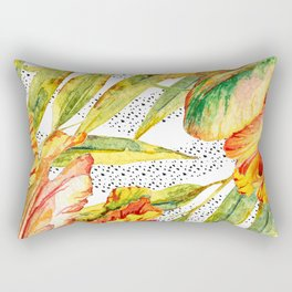 Tropical Watercolor Flowers Rectangular Pillow
