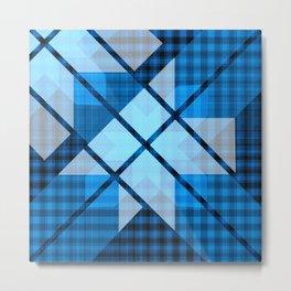 Abstract Geometric Blue Plaid Design Metal Print