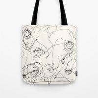 girls Tote Bags featuring Girls by 5wingerone
