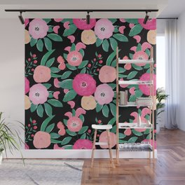 Stylish abstract creative floral paint Wall Mural
