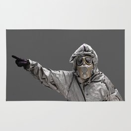 Protection Suit And Gas Mask Rug