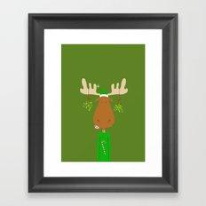 Merry Christmoose - Christmas Mistletoe Moose Framed Art Print
