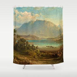 A view of Konigsee near Munich, Germany by Frederick Lee Bridell Shower Curtain