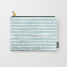 Elegant Stripes Succulent Blue and White Carry-All Pouch