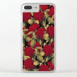 Vintage Red Roses II Clear iPhone Case