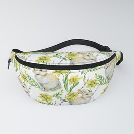 Easter watercolor ivory yellow green rabbit narcissus floral Fanny Pack
