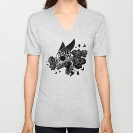 Skull 'n' Roses (NightmareNetty-Black&White) Unisex V-Neck