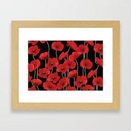 Poppies Flowers black background pattern graphic Framed Art Print