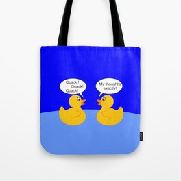 Talking Rubber Ducks Tote Bag