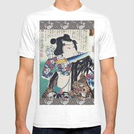 Kunichika Tattooed Warrior with Sayagata Pattern Background T-shirt